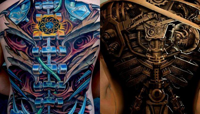 As tatuagens biomecânicas desenhos compostos de engrenagens que encaixam com o local do corpo em que são colocados, dando a sensação de que a pessoa em questão é uma máquina ou que, por sua vez, tem um membro mecânico.Este estilo sofreu influência direta do artista plástico Hans Ruedi Giger, ilustrador responsável pelas criaturas do filme Alien (que misturou características humanas com objetos metálicos nas suas criações).Unindo vida com mecânica, o estilo era inicialmente tatuado com tintas pretas e cinzas, porém, com a difusão e especialização da técnica, artistas criaram vertentes da tatuagem biomecânica colorida.As margens do desenho são geralmente ¿pele rasgada¿ de onde se pode ver, no lugar do osso, sangue ou órgãos, engrenagens, alavancas e membros mecânicos. Créditos de imagem: http://tattoo-journal.com/