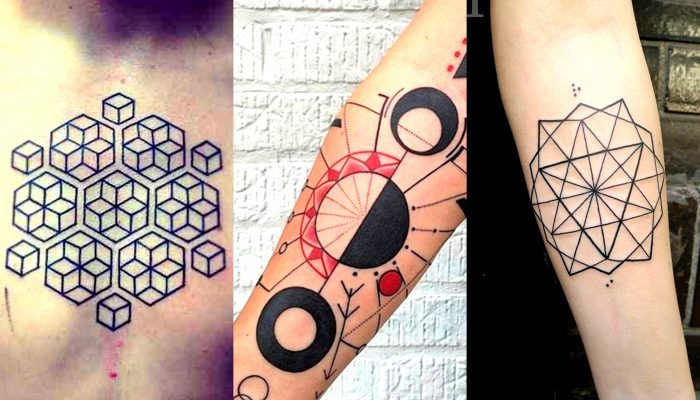 A geometria sagrada refere-se a padrões e desenhos que podem ser encontrados em toda a natureza. Pela simetria das formas geométricas, elas foram vistas por vários povos como símbolos sagrados. Os gregos antigos, por exemplo, acreditavam que cinco sólidos platônicos, em particular, simbolizavam os elementos da vida: fogo, a terra, o ar, o espirito e a água. As tatuagens geométricas inspiram essa mesma perfeição transmitida para a pele. É um estilo de tatuagens muitas vezes combinado com o Gray Wash e com o Aguarela. Fonte: http://www.thisistattoo.com/